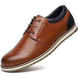 Zapatos Comodos Oxford de Cordones para Hombre - Zapatos Formal Derby Cuero de Imitación Hombre, Conveniente para Todas Las Estaciones SS001-CAMEI-42