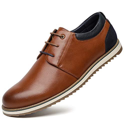 Zapatos Comodos Oxford de Cordones para Hombre - Zapatos Formal Derby Cuero de Imitación Hombre, Conveniente para Todas Las Estaciones SS001-CAMEI-43