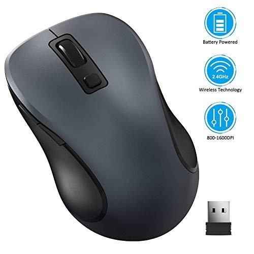 TedGem Computermaus, Funkmaus 2.4G Kabellose Maus Funk Maus Wireless Maus Tragbar Drahtlose Maus mit 6 Tasten, 3 Einstellbare DPI 1600/1200 / 800 für Laptop & PC, Microsoft & macOS