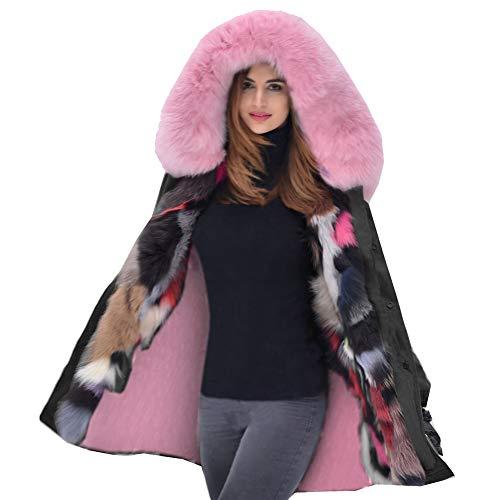Aox donna dolce inverno primavera rosa collo di pelliccia con cappuccio cappotto Girly sport sci Walking Outdoor militare Button Close Plus taglia UK 8–20nero verde Nero 44
