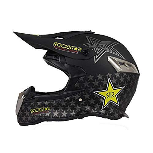 KPTK Dual Sport Offroad Motorrad Motocross Helm Dirt Bike ATV D.O.T Zertifiziert Rockstar Schwarz (M)