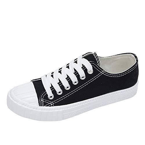SDGDFXCHN Damen-Sneaker mit niedrigem Oberteil, Segeltuch, Retro-Stil, Indie Vintage-Stil, Schwarz, 39
