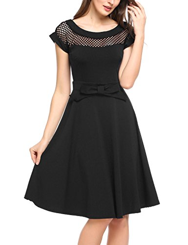 Parabler Damen 50s Vintage Rockabilly Kleid mit Spitzen Kurzarm Cocktailkleid Rundhals Skaterkleid Knielang Partykleid A-Linie Swing Schwarz XXL