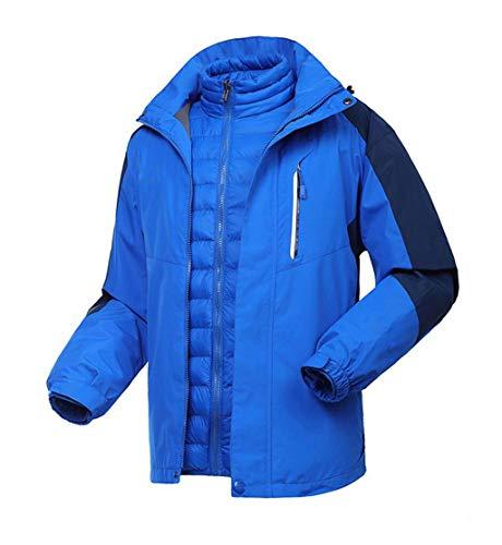 PFSYR Bergsteigen-Kleidung der Männer, kampierende Reise-Wasserdichte windundurchlässige Jacke unten Zwischenlage-warme und kalte Kleidung im Herbst und Winter-Mantel (Farbe : Blue 2, größe : M)
