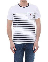 4579bc21cc6d9f Ralph Lauren Mod. 710740886 T-Shirt Girocollo Taschino Righe Uomo  White Newport Navy