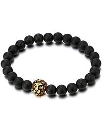 Perla Cuentas de 8MM Ónix Negro, Pulsera de Hombre con Color Oro Cabeza de León, Brazalete, Buddhist Prayer Mala