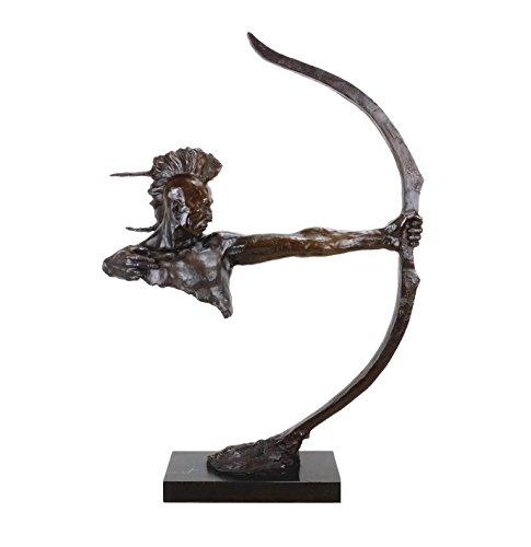 Kunst & Ambiente - Limitierte Indianer Skulptur - Indianer mit Bogen - Irokese - Western Statue - Indianer Bronze Krieger - Sign. Remington - Skulpturen online kaufen