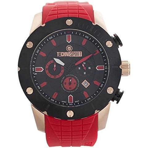 TS-700-3 TechnoSport Unisex, in silicone, colore: rosso-Orologio da donna, lunetta e orologio, colore: nero con dettagli colore: rosso