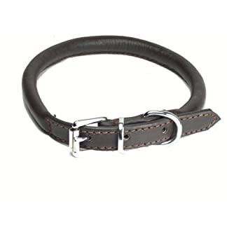 """Ace Dog Collars Super Soft Best Rolled Leather Dog Collar Dark Brown : Small 16"""" (40 cm) : will fit 30 cm to 36 cm (Thickness 8 mm). 8"""