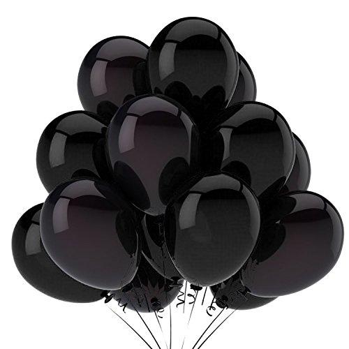 Cotigo- Globos de Látex para Decoraciones de Fiesta de Cumpleaños Halloween Boda ,Color Negro,12' (18pcs)