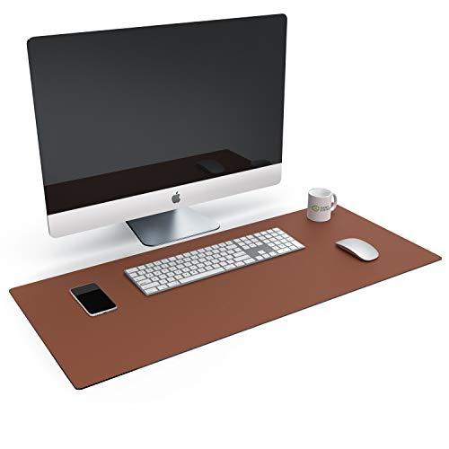 CSL - XXL Leder Optik Mauspad - 900 x 400 x - Kunstleder Schreibtischunterlage - multifunktionale Tischunterlage - Mausunterlage für Büro und Zuhause - wasserabweisend - PC Computer Laptop - braun