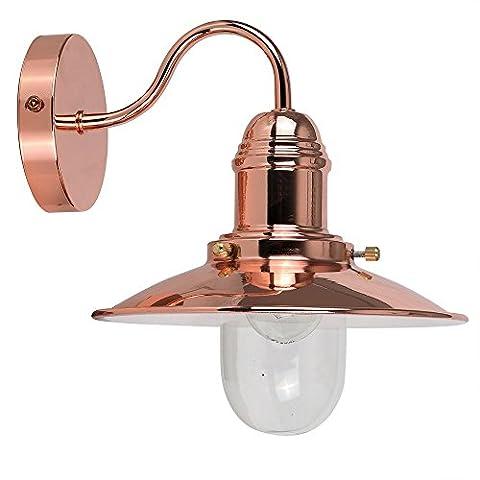 Modern Polished Copper Effect Metal & Glass Fisherman's Lantern Wall Light