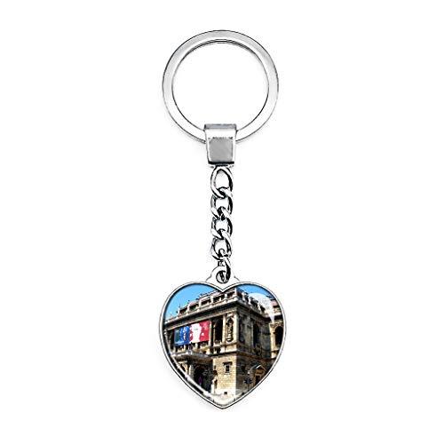 Hqiyaols Keychain Ungarn Ungarische Staatsoper Budapest Schlüsselkette Kreative Doppelseitige Herz-Kristall-Schlüsselkette Tourist Souvenir Metal -