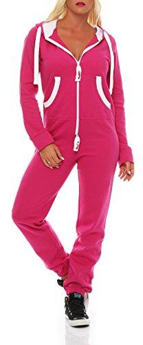 Damen Jumpsuit Jogger Jogging Anzug Trainingsanzug Einteiler Overall 9t5 pink M