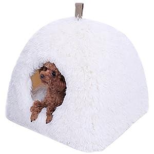 PAWZ Road igloo Tente chien Lit de chien Corbeille de chien en peluche souple Ultra doux Panier chien avec Coussin amovible Matelas Tapis chien en peluche ultra confortable avec fond antidérapant pour chats et les petits animaux domestiques
