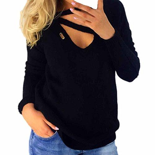Longra Damen Pullover V-Ausschnitt Bluse Langarm Sweatshirt Herbst Winter Strickpullover lose gestrickte Pullover Oberteil Jumper Tops (Black, XL) (Kurz Geraffte Tasche)