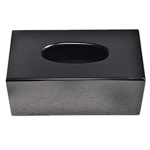 PETSOLA Holzabdeckung Tissue Box Rechteck/Platz Home Halter Dispenser Organizer - Schwarzes Rechteck, 23x12x10cm