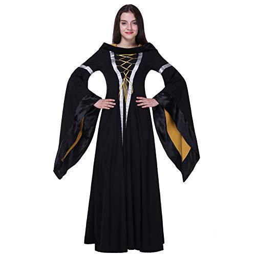 Kostüm Straßenkünstler - Halloween mit Kapuze europäischen Retro Gericht Kleider Kostüme Bar Stage Party Womenswear,Black,S