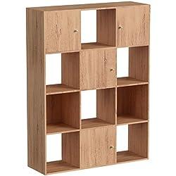 IDMarket - Meuble de Rangement Cube 12 Cases Bois façon hêtre avec Portes