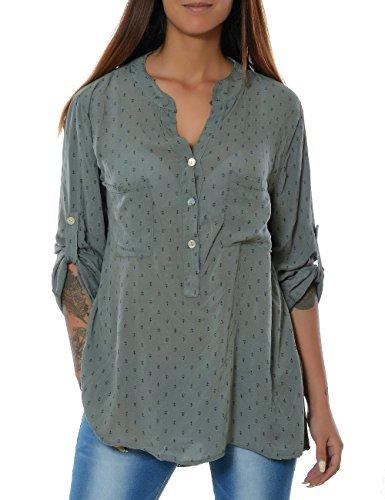Damen Bluse Casual Hemd Top Oberteil Long-Shirt Tunika 3/4 Arm No 15644, Farbe:Khaki;Größe:One Size