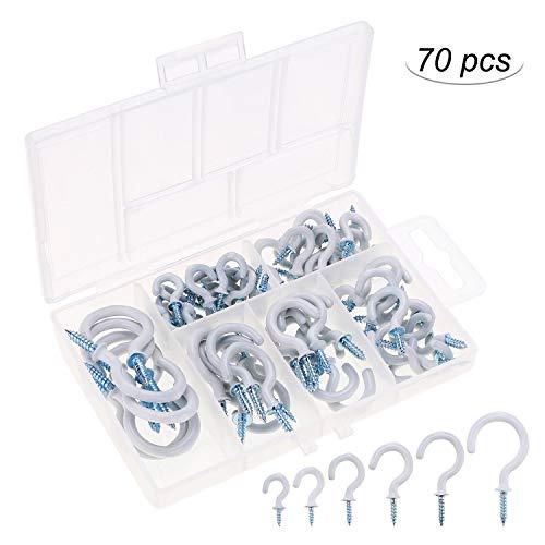OOTSR 70 stücke Deckenhaken, 6 Größen kunststoff beschichtetes Weiß Cup Hook Schraubhaken set für Küche/Garten, Innen- und Außenbereich Benutzen