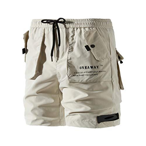 Cargo Shorts Herren Chino Kurze Hose Sommer Bermuda Sport Qmber Jogging Training Stretch Shorts Fitness Vintage Regular Sweatpants Baumwolle lockere einfarbige Knopfleiste Orange Schwarz(Beige,5XL) -