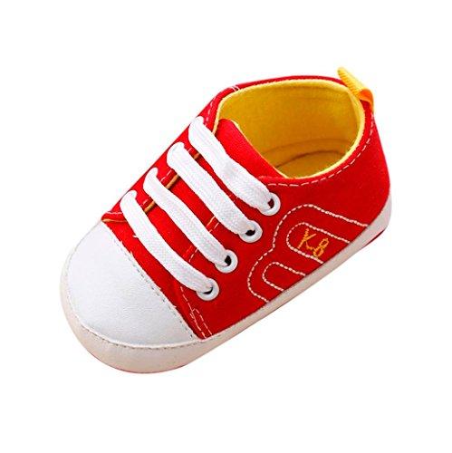 IGEMY Chaussures berceaux pour bébés Antidérapant Baskets Bandage Chaussures Rouge