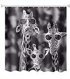 A.Monamour Schwarz-Weiß-Bild Bild Drucken Kühle Giraffen Mit Brille Lustig Muster Polyester Duschvorhang Für Tierliebhaber 180X200 cm / 72