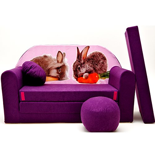 G1 Minicouch Kindersofa Baby Sofa Set Sitzkissen Matratze (G1 lila Hasen)