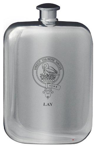 lay-family-crest-design-pocket-hip-flask-6oz-rounded-polished-pewter