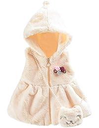 Niña Chaleco 0-3 años,Chaleco Hoodie de Niña pequeño bebé recién Nacido Invierno Chaleco Pelo Faux con Bolsa sin Manga Peludo Color Liso Moda Casual Elegante Niña Yesmile
