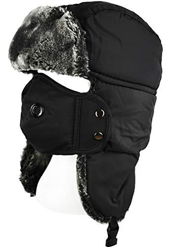 Hals Ohrenklappen (QHIU Wintermütze mit Ohrenklappen Mund Maske Hals Gesicht Schutz Warme Hüte Fliegermützen Trappermütze für Skifahren Outdoor-Aktivitäten Unisex (Black-1))