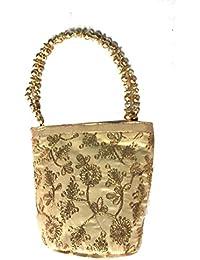 Sri Ganesh Bag House Ethnic Clutch Silk Potli Batwa Pouch Bag With Metal Beadwork Gift For Women (GOLD)
