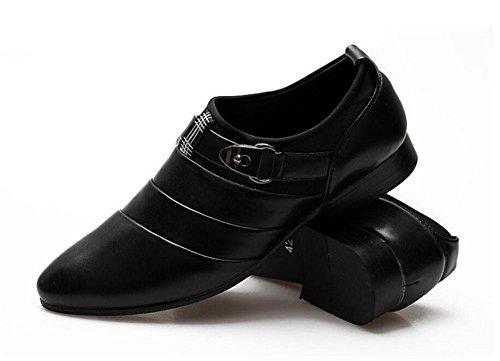 SHIXR Herren Casual Schuhe Britische Spitz Leder Schuhe Haar Stylist Jugend Trend Erhöhung Schuhe Hochzeit Schuhe Weiß Schwarz Braun Black