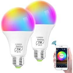 Ampoule WiFi LED E27, LSNDEE Ampoules Connectée Alexa, 7W Intelligente Lumiere de Controle, Couleur RGB+ Blanc Dimmable, Compatible avec Google Home, Echo et IFTTT, Pas de Hub Requis (2 pack) (Blanc)
