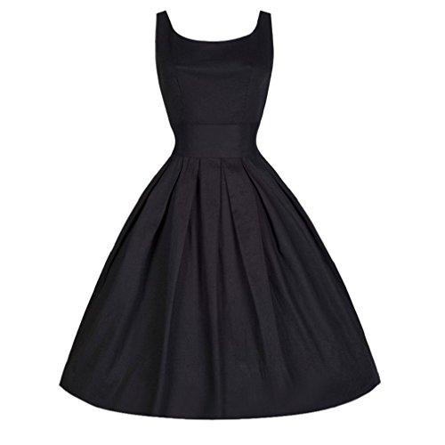 ESAILQ Damen Vintage Style 50er Jahre Swing Retro Kleid Petticoat Faltenrock Party Rockabilly Abendkleid