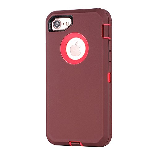 "MOONCASE iPhone 7 Coque, Durable Anti-dérapante Anti-choc Protection Housse Ultra Hybrid Flexible Silicone Defender Etui Case pour iPhone 7 4.7"" Violet Marron"