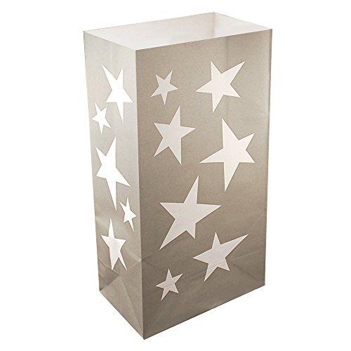 LumaBase 4902424Count Silber Stars Lichtertüte Luminaria Taschen