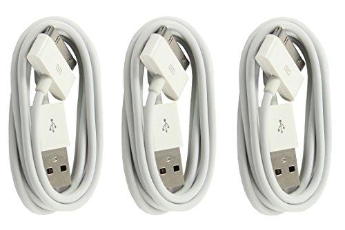 IPRIME [3 Stück] Original 1 Meter USB Kabel Ladekabel Datenkabel kompatibel mit iPhone 4/4s, iPhone 3G/3GS, iPad 1/2/3, iPod Touch 3/4, iPod Nano 5/6 in Weiß - 1m (I Phone 4s Usb Kabel-original)