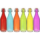 Color cristal Swing Top Botella 1litro–juego de 6–Rojo, Azul, Naranja, Verde, Amarillo, Morado botellas