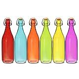 Farbige Glas Swing Top Flaschen 1Liter–6Stück–Rot, Blau, Orange, Grün, Gelb, Lila Flaschen