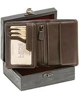 Hochwertige Kombibörse mit Riegel (mit edler Geschenkkiste) LEAS in Echt-Leder, braun - ''LEAS Elegance-Edition''