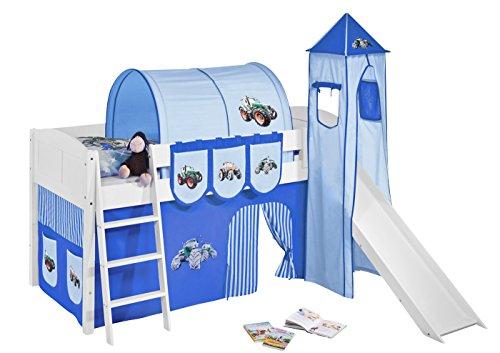 Lilokids Spielbett IDA 4106 Trecker Blau-Teilbares Systemhochbett weiß-mit Turm, Rutsche und Vorhang Kinderbett, Holz, 208 x 220 x 185 cm