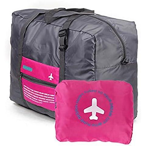 QHGstore Los viajes a Big Tamaño de la bolsa de equipaje de ropa plegable de almacenamiento Carry-On bolsa de lona rojo de