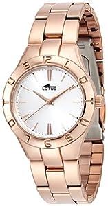 Lotus 0 - Reloj de cuarzo para mujer, con correa de acero inoxidable, color oro rosa de Lotus