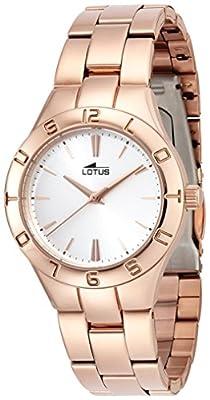 Lotus 0 - Reloj de cuarzo para mujer, con correa de acero inoxidable, color dorado
