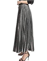 Falda de Mujer - Falda de Lentejuelas de Cintura elástica de Metal Brillante  Cintura Casual Playa ad7b510bed18