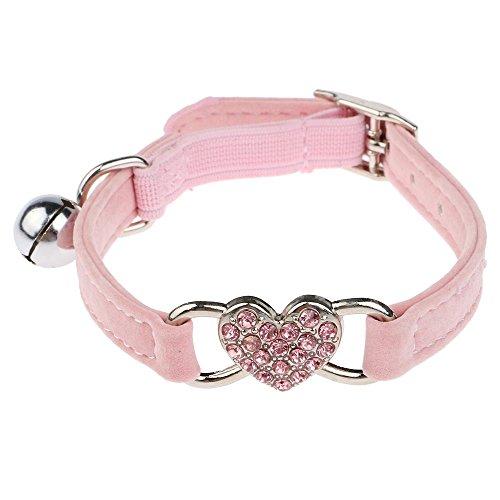 1 pcs Halsbänder Einstellbare schöne Herz Form Diamant kleiner Hund Katze Haustier Samtkragen mit Bell Rosa