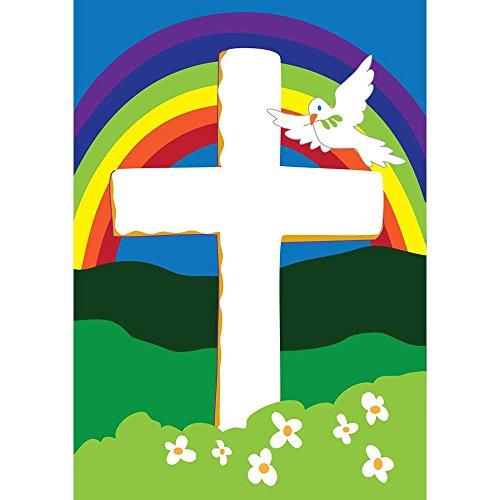 Faith Rainbow Taube und Kreuz 18x 13Rechteckiger, doppelt Aufnäher kleinen Garten Flagge