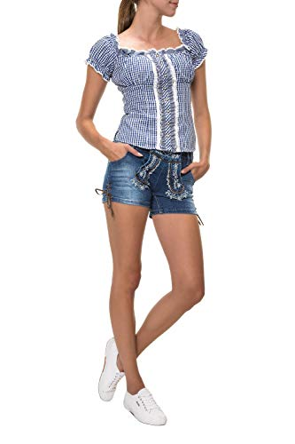 Hailys Damen Trachten Jeans Shorts Lederhose Oktoberfest Wiesn (M, Blue)